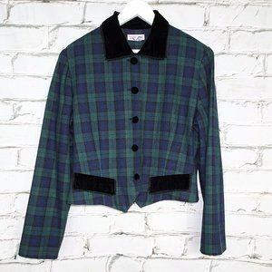 Talbots Vintage Forest Green Plaid Short Blazer